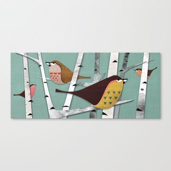 Suspicious little birds Canvas Print
