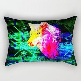 digital wolf Rectangular Pillow