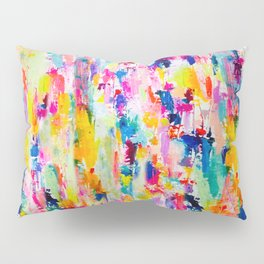 Bright Colorful Abstract Painting in Neons and Pastels Pillow Sham