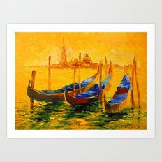 Golden evening in Venice Art Print