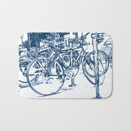 Blue Bicycles Bath Mat