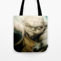 yoda Tote Bags featuring Yoda by Colunga-Art