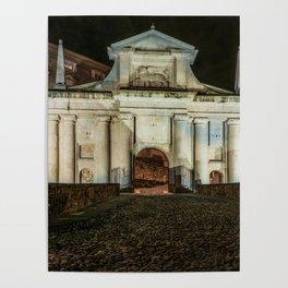 Front view of Porta San Giacomo in the upper city of Bergamo. Night cityscape. Poster