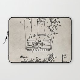 Baseball Glove Patent - Baseball Art - Antique Laptop Sleeve