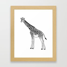 Giraffe - ink illustration Framed Art Print