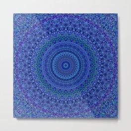 Blue Floral Ornate Mandala Metal Print