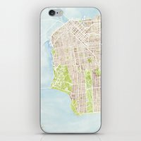 san francisco map iPhone & iPod Skins featuring San Francisco CA City Map  by Anne E. McGraw