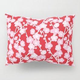 Red Cherry Blossom Pattern Pillow Sham