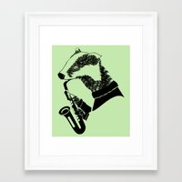 saxophone Framed Art Prints featuring Badger Saxophone by mailboxdisco