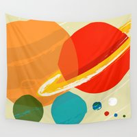 planets Wall Tapestries featuring The planets by andy fielding