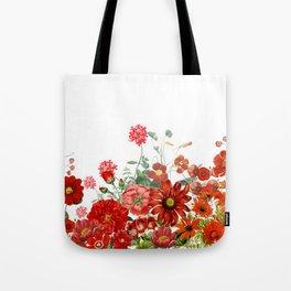 Vintage & Shabby Chic - Red Summer Flower Garden Tote Bag