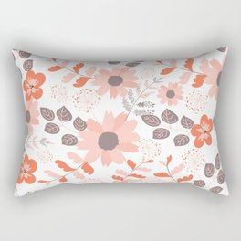 Big Orange, Coral and Pink Country Flowers Rectangular Pillow
