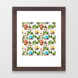 Campsite with caravans, campfire, camping chairs, trees, carpet, birds. Camping in the forest. Campground. RV. Camp night. Big scale. Framed Art Print