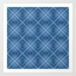 Charming blue cage plaid checkered Art Print