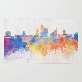 Gdynia skyline in watercolor background Rug