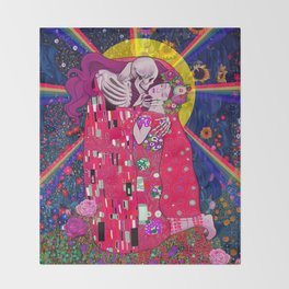 The Kiss Macabre Throw Blanket
