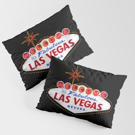 Welcome to Fabulous Las Vegas vintage sign neon on dark background  Pillow Sham