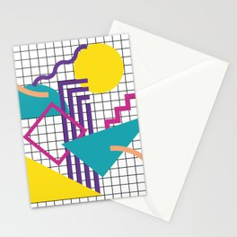 Memphis Pattern - 80s Retro White Stationery Cards