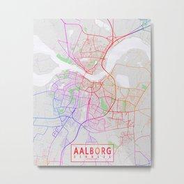 Aalborg City Map of Denmark - Colorful Metal Print