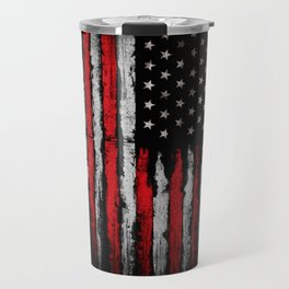 Red & white Grunge American flag Travel Mug