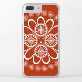 Red Art Nouveau Design Clear iPhone Case