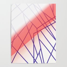 Design lines pink white Poster