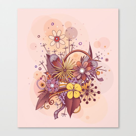 Zentangle, summer rose pink, purple doodle Canvas Print