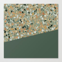 Terrazzo Texture Military Green #4 Canvas Print