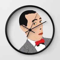 pee wee Wall Clocks featuring pee-wee by Britt Whitaker Design