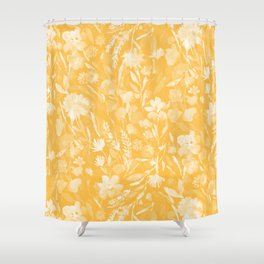 Upside Floral Golden Yellow Shower Curtain