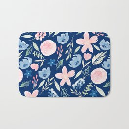 Blush Pink And Navy Blue Watercolor Bath Mat
