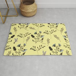 Butter Yellow and Bluebells and Bluebirds Floral Pattern Flowers in Blue and Bark Brown Rug