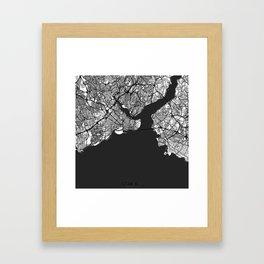 Istanbul Map Gray Framed Art Print