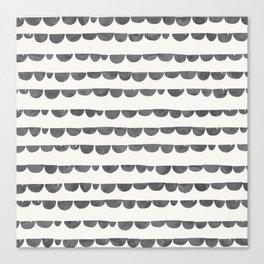 Original modern gray white watercolor scalloped  Canvas Print