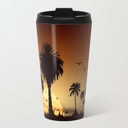 Sunsets and sunrises over the savanna with palm trees Travel Mug