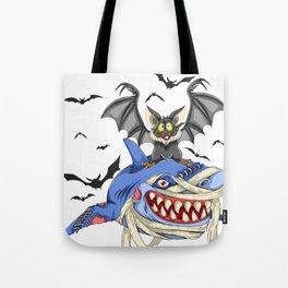 Halloween Bat And Shark Tote Bag