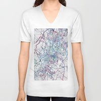 austin V-neck T-shirts featuring Austin map by MapMapMaps.Watercolors