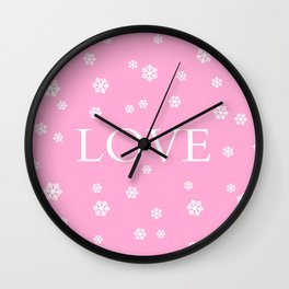 Winter Love - pink - more colors Wall Clock