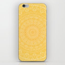 The Most Detailed Intricate Mandala (Mustard Yellow) Maze Zentangle Hand Drawn Popular Trending iPhone Skin