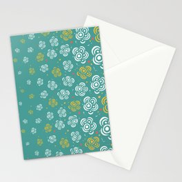 Raining Flowers - Turquoise Stationery Cards