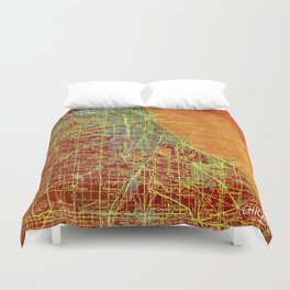 10-Chicago Illinois 1947, old map, orange and red Duvet Cover