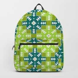 Green Detailed Geometric Digital Pattern Backpack