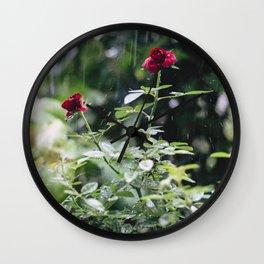 Roses In The Rain Wall Clock