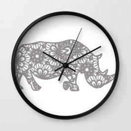 Rhinoceros Mandala Rhino Zentangle Wall Clock