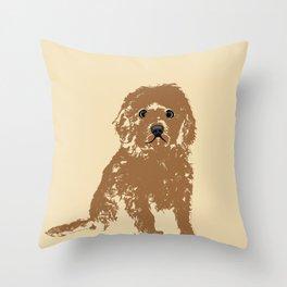 Cockapoo dog art Throw Pillow