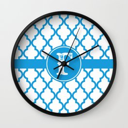 Blue Monogram: Letter F Wall Clock
