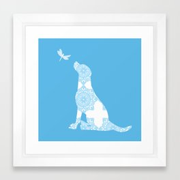 Labrador Retreiver Dog On Blue Colour Framed Art Print