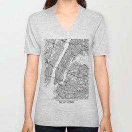 New York City Neutral Map Art Print Unisex V-Neck