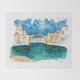 Stari Most Herzegovina Sketch Throw Blanket