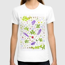 Leaves and flowers pattern (33) T-shirt